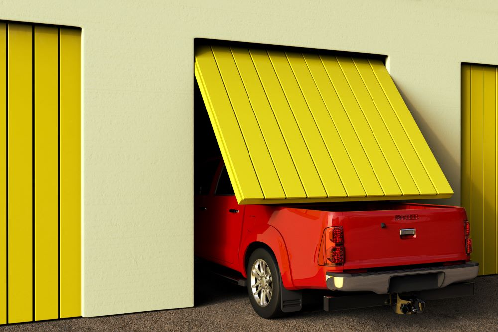 3D rendering of a conceptual image of a big pickup truck that does not fit in the garage
