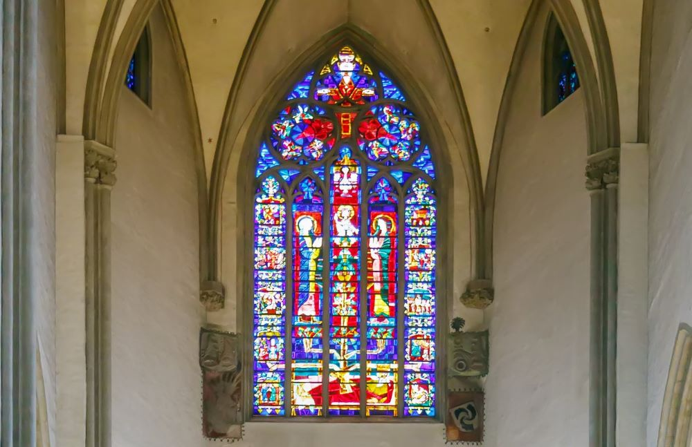 Stained glass in the Cathedral of Augsburg is a Roman Catholic church in Augsburg, Bavaria, Germany