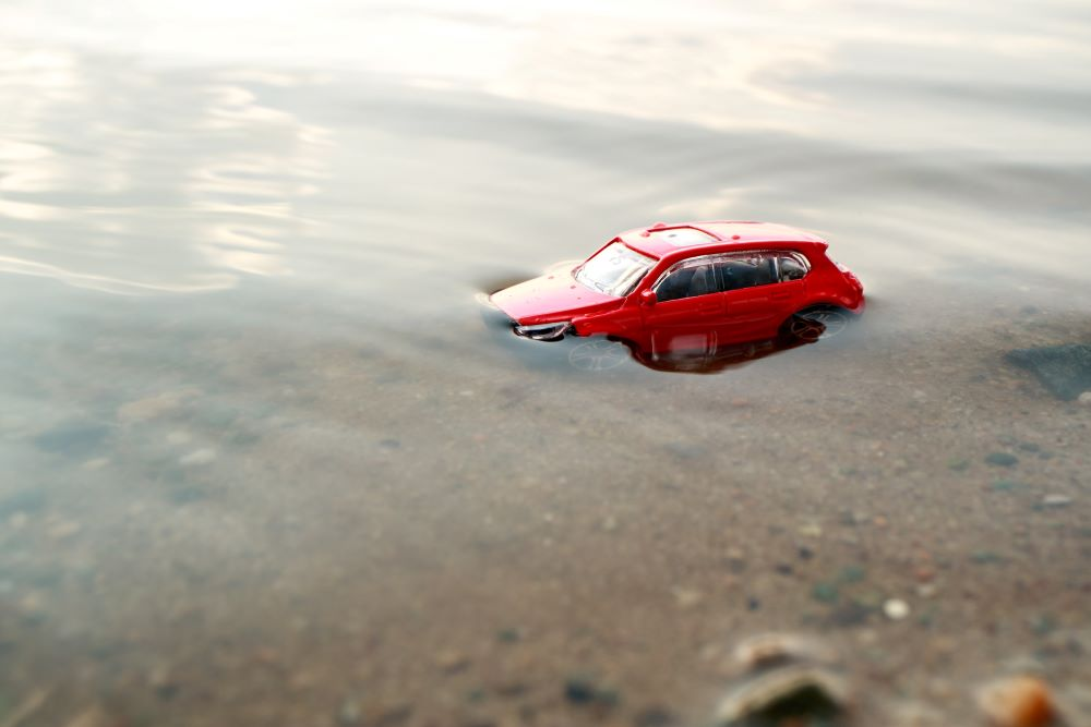 toy car almost drowned in the water on the shore of the pond on a summer day